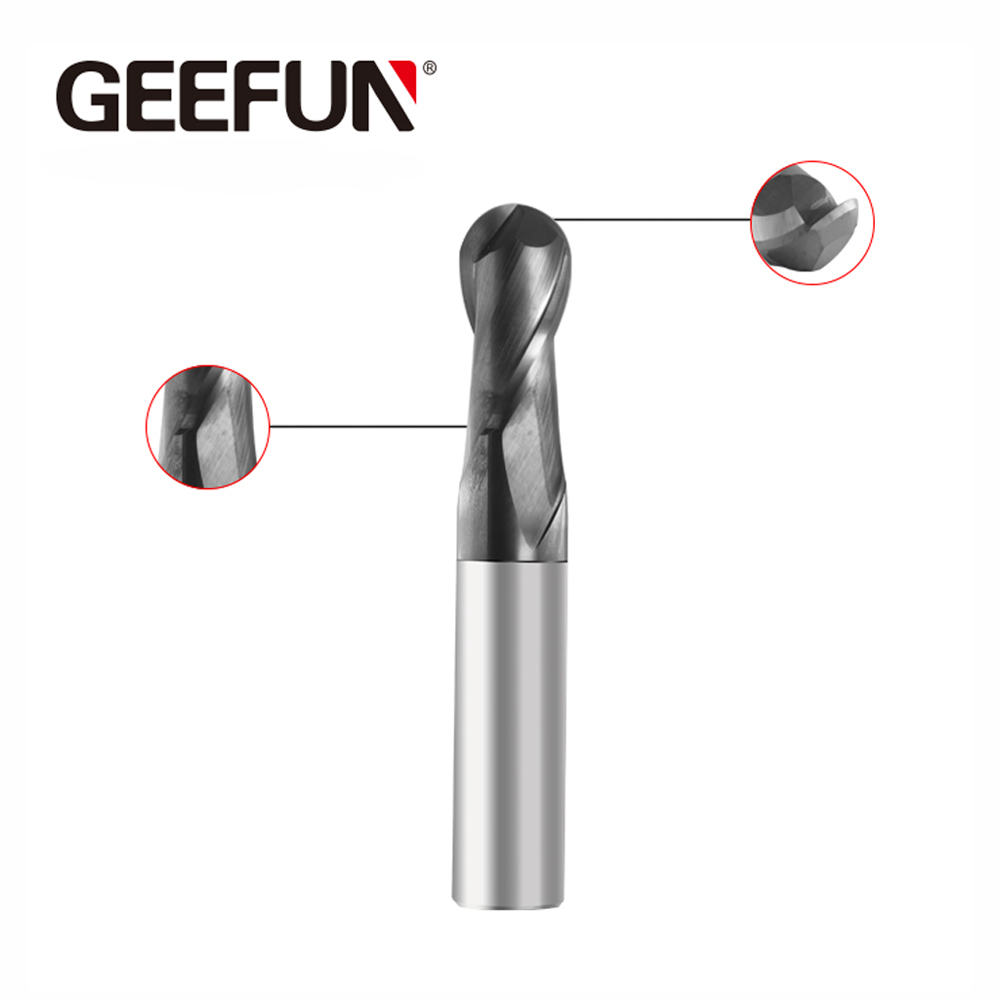 CNC Milling Tools Solid Carbide 2 Flutes Ball Nose End Mill 0.5-12.5mm Shank 2 Flute CNC Router Bit Tools Carbide Milling Cutter HRC 50 30° Helix Featured Image