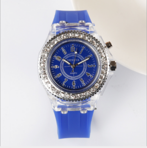 Mens Geneva diamond women crystal 7 colors led light watch unisex silicone jelly candy fashion quartz watches LW0109