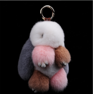 Animal real rabbit fur keychain bag plush key chain for women rabbit keychain KC0600