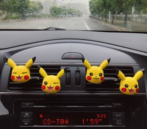 Vehicle-mounted perfume air car air outlet Perfume Clip Car Decoration Expansion Incense Stone Pikachu car interior decoration incense girl