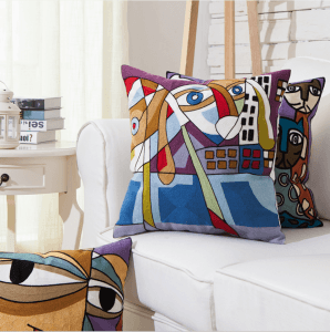 Art Impressionist abstract cartoon creative pillowcase Wholesale full embroidery embroidery pillow cushion cover PW1010