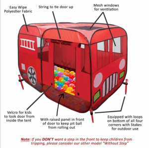Children's play house fire truck game tent HM1012