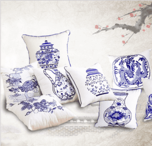 Chinese classical blue and white porcelain pillow Chinese wind embroidered pillow creative embroidery hug pillowcase PW1007