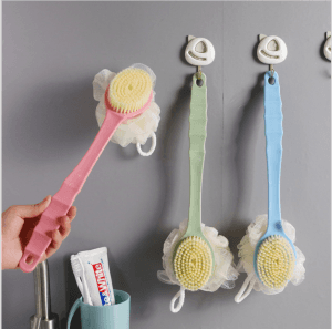 Long-handle soft fur bath brush back double-sided scrubbing brush bathroom hanging brush with bath flower bath ball BS1076
