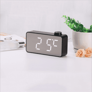 Mirror clock Multifunction creative knob alarm clock LED wood grain mirror table clock Makeup mirror temperature clock CK1014
