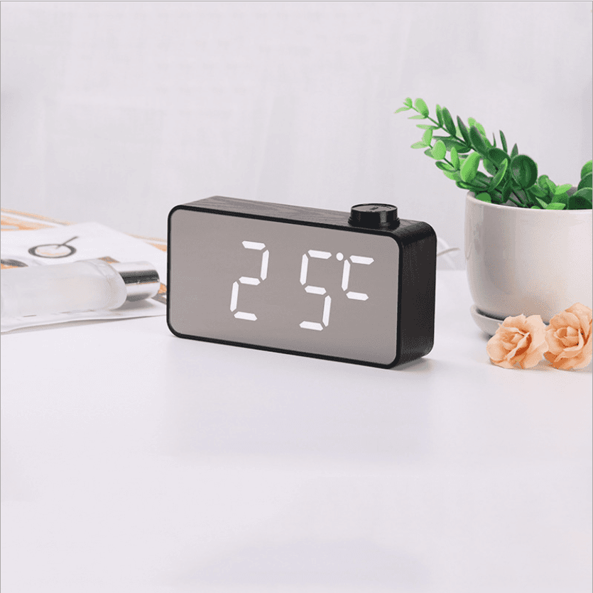 Mirror clock Multifunction creative knob alarm clock LED wood grain mirror table clock Makeup mirror temperature clock CK1014 Featured Image