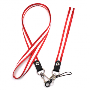 Mobile phone lanyard mug sling color thick with metal hook CSC with cast circle line head LY1056