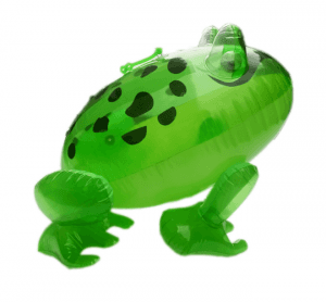 Pvc leather goods toy with flashing inflatable frog IT1035