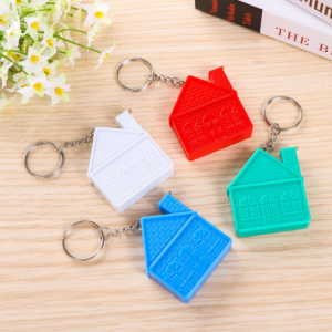 Hot selling house shape Eco-friendly mini keychain with tape measure for promotional gift  TMS0005