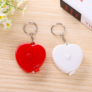 60 Inch/150 cm ABS Cartoon Soft Portable Retractable Mini Funny Heart Shaped Tape Measure with Key-chain  TMS0007