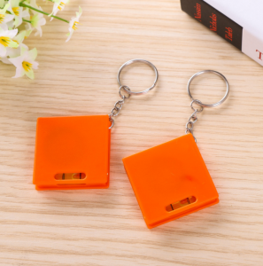Logo printed cheap promotional plastic square shape mini tape measure keychain with level  TMS0014