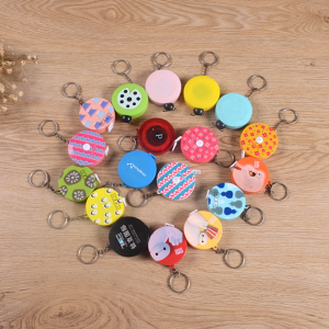 60 Inch/150 cm ABS Cartoon Soft Portable Retractable Mini Cute Round Shaped Tape Measure with Key-chain for Measuring Tool  TMS0029