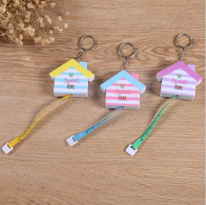 60 Inch/150 cm Push Button Pocket Soft Mini Funny ABS House Shape Tape Measure for Sewing Tailor  TMS0034