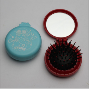 New fashion plastic round folding portable travel Daily Makeup hair comb abode cosmetic mirror sets  MMR0011