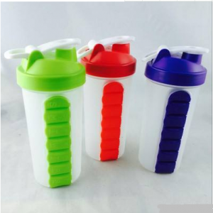 Promotional Custom Logo Printing Sport Shaker Bottles With Pill Box  SHB0002