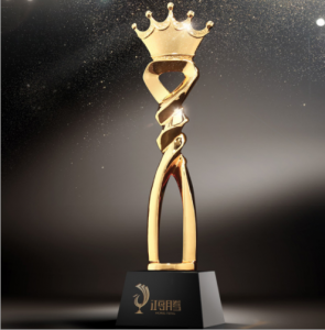Custom Luxury new design Gold crown Crystal resin Trophy and Award  TR0106
