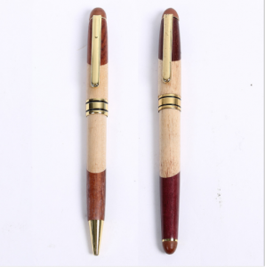 Polish surface Wood type ball pen with metal parts laser logo 26g wooden type pen  WOP0004