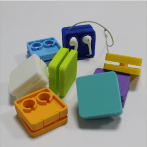 Square Silicone Headphone Winder Small Promotional Gifts Cell Phone Data Cable Organizer Protector SG1007