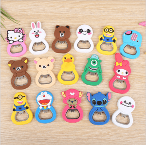 Tong PVC bottle opener cute silicone soft PVC refrigerator sticker with magnetic KT1036