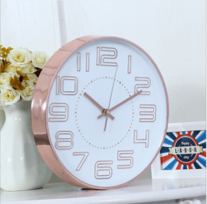 Wall Clock Modern Simple Three-dimensional Character Personality Creative Round Wall Clock Bedroom Silent Quartz Clock 12 Inch 30CM CK1032