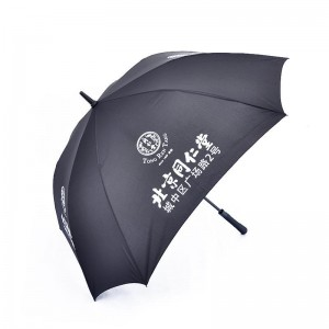 Top Quality Pongee 190T Long Shaft Automatic Type Custom Golf Umbrella With Customized  Logo