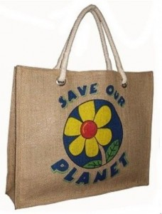 Personalised waterproof jute grocery bag with slogan CB0005