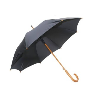 23″ wooden frame pongee fabric automatic rain straight umbrella