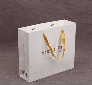 OEM cheap kraft paper cloths bags with handles SB0002