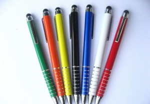 Promotional custom logo office aluminum metal stylus ball pen for touch
