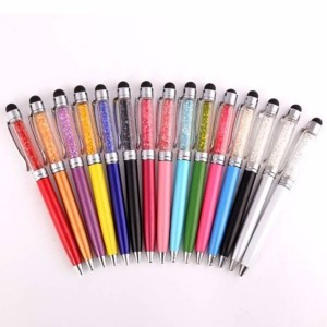 Metal gold foil floating touch screen pen promotion gifts for vip crystal ball-point pen stylus  MP0088