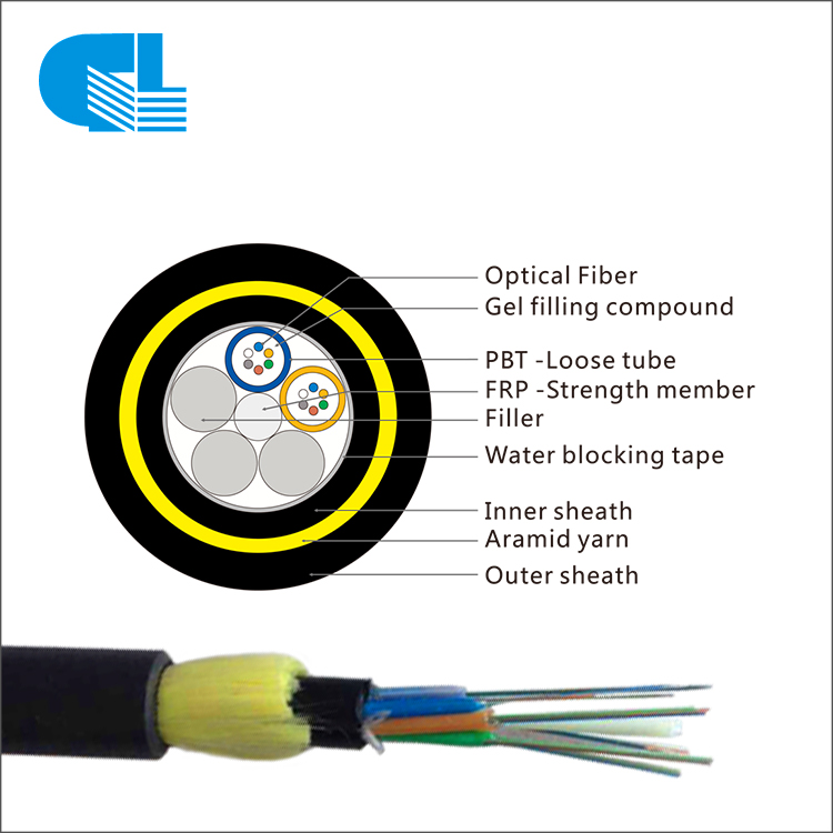 Double Layer Aerial All-Dielectric Self-Supporting 12/24/48/144/288 Core ADSS Cable For Long Span