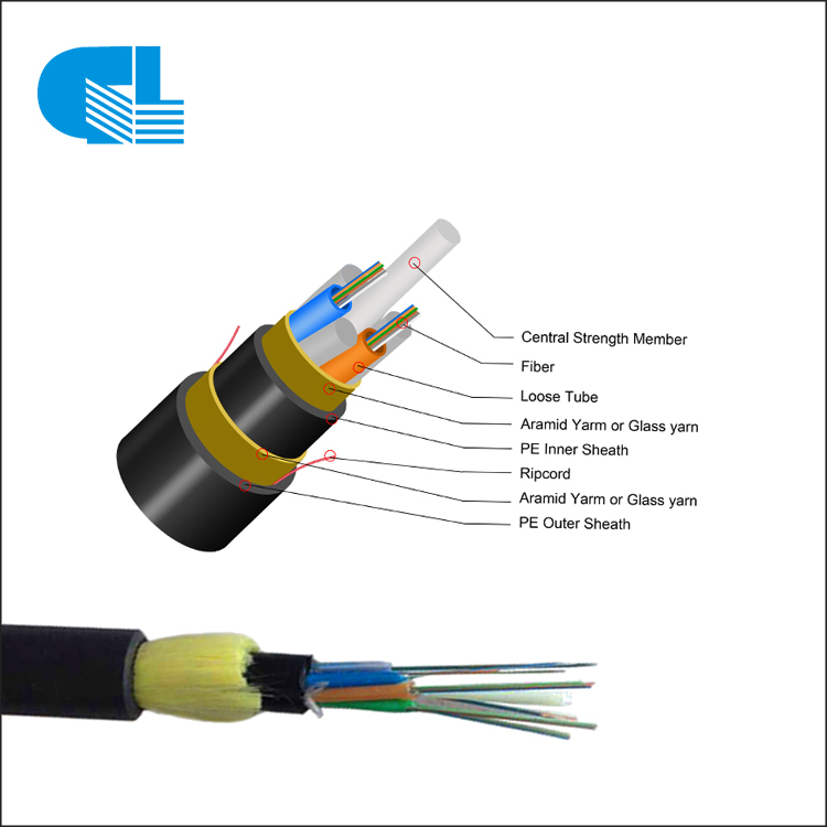 Aerial 12-288 Core ADSS All-Dielectric Self-Supporting Fiber Cable For 150-1600M Long Span