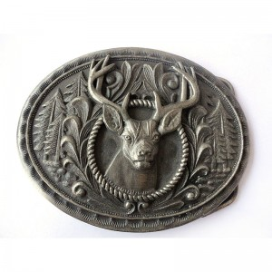 Hot sale antique plated 3D Engraved animal belt buckle