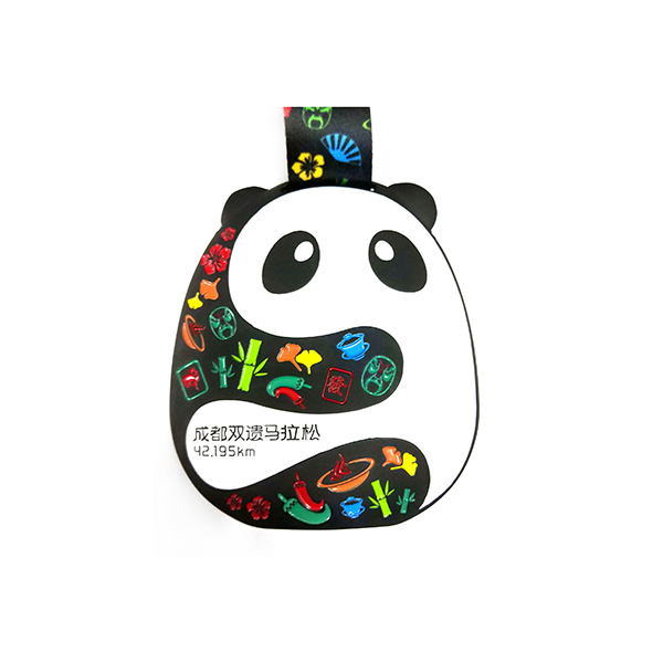 Chinese Professional Acrylic Photo Frames - Custom Black Finished Panda Medal with soft enamel – Global Art Gifts detail pictures