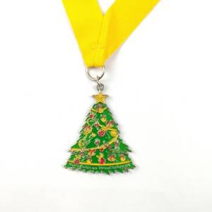 Manufacturer OEM ODM Free Design Custom Winter Medals Christmas Tree Medals