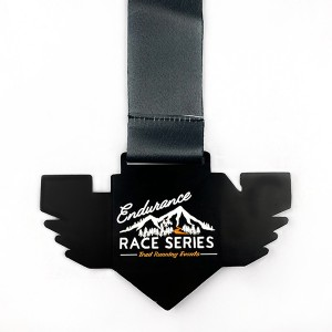 Creative Black Finished Medal with soft enamel eagle