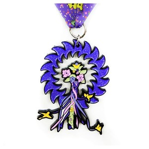 Creative tree shaped  medal with purple glitter and soft enamel