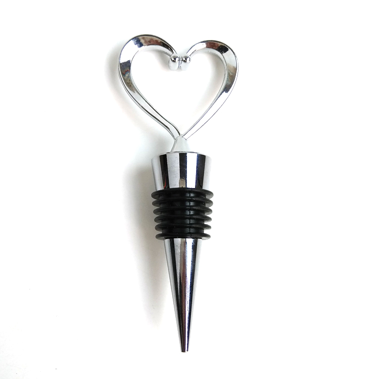 Manufacturer ofArchery Award Medals - Custom Plating silver 3D Heart Bottle Stopper – Global Art Gifts detail pictures