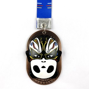 Personlized Products3d Marathon Medal - Custom 3D Spinning Panda medal with opera facial Masking – Global Art Gifts
