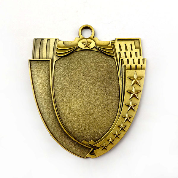 Online Exporter Hot Selling Necklace Dog Tag - Custom Antique gold shield shaped Blank Medal – Global Art Gifts
