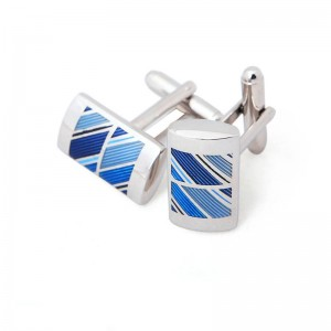 Professional design Plating silver stainless steel Cufflinks with Blue  soft enamel