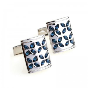 Silver Checker Stainless Steel Mens Weeding Shirt Cufflinks with Crystal