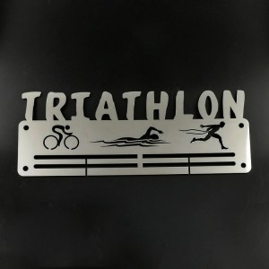 Custom Stainless Steel Triathlon Run Medal Hanger