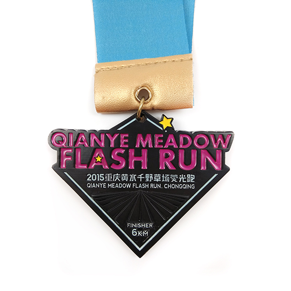 Super Purchasing for Marathon Finisher Medal - Custom logo flash run glowing medal with soft enamel – Global Art Gifts detail pictures