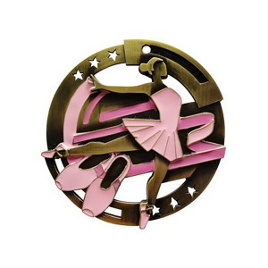 Cut Out Dancer girl pink medal with star