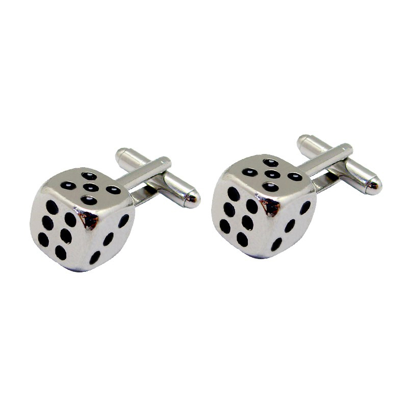Manufacturer of Running Medals - Dice cube shaped Plating silver Cufflinks with Black Soft Enamel – Global Art Gifts