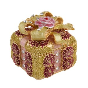 Fashion style bowknot flower metal jewelry box for gifts with crystal