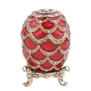 Free Design egg shaped Black metal jewelry box for gifts with crystal