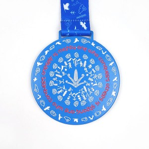 High quality Color Spray Blue Medal with soft enamel