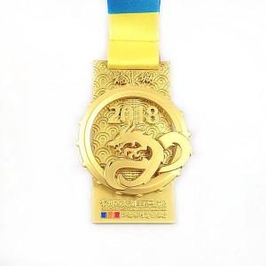 Plating Gold Medal With Cut Out Spinning Dragon